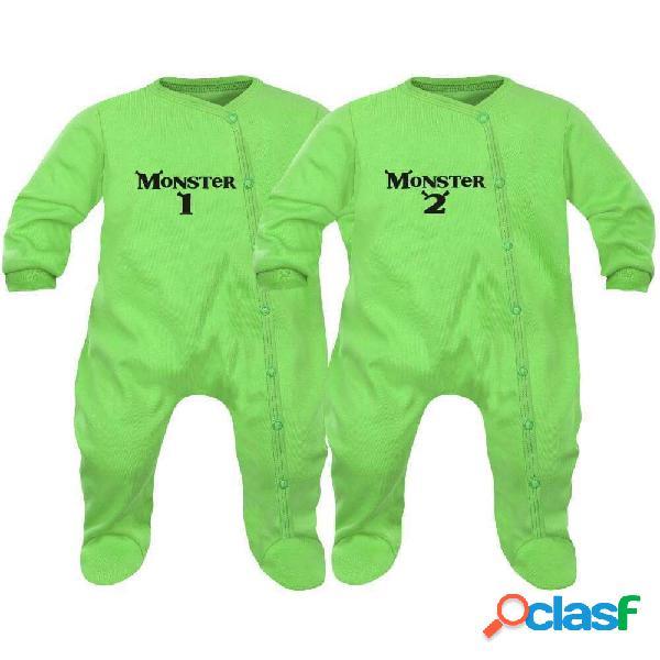 2 pyjamas bébé jumeaux: monster 1 et 2