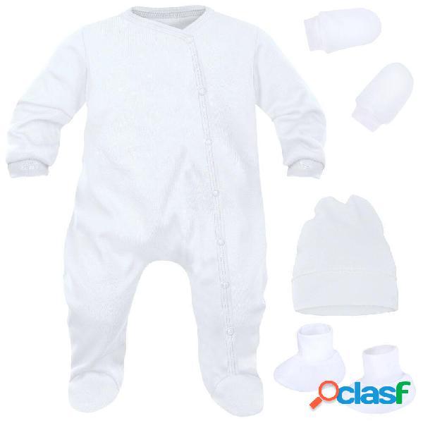 Ensemble naissance pour bébé fille et garçon 4 pièces + sachet gratuit - blanc (moufles et chaussons blancs) 0-1 mois