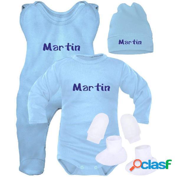 Ensemble naissance bébé garçon avec prénom de bébé (5 pièces + sachet gratuit) - bleu (moufles et chaussons blancs) 0-1 mois