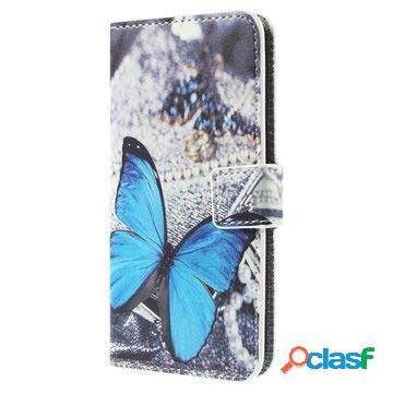 Etui portefeuille elégant pour samsung galaxy s6 edge - papillon bleu