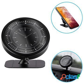 Support tableau de bord magnétique universel avec horloge - noir