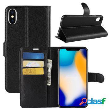 Étui portefeuille iphone xs max avec support - noir