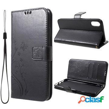 Étui portefeuille iphone xs max - série butterfly - noir