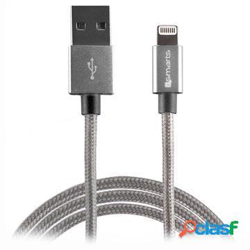 Câble lightning 4smarts rapidcord pour iphone, ipad, ipod - 2m - gris