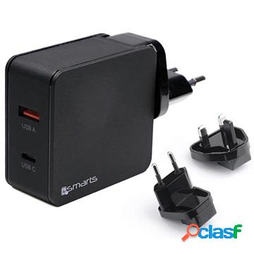 Chargeur de voyage rapide usb 4smart voltplug - usb pd %26 qc3.0 - 48w - noir