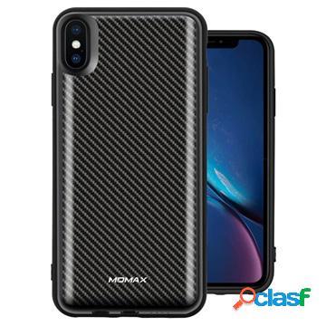 Coque batterie iphone xs max sans fil momax q.power pack - fibre de carbone