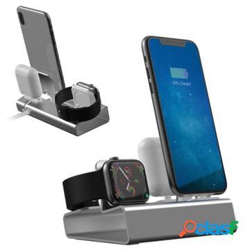 Station d'accueil 3-en-1 alliage d'aluminium - iphone, apple watch, airpods - gris