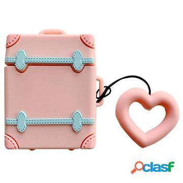 Étui apple airpods / airpods 2 en silicone - série sweet suitcase - rose