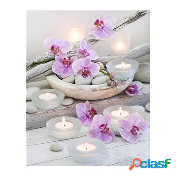 Motif orchidée diamant broderie 5d peinture diy fleur point de croix mosaïque strass décor à la maison