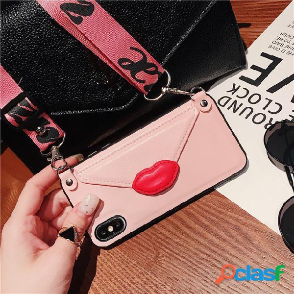 Paquet de carte de beauté x téléphone shell 7plus creative support diagonale croix pour 6 s personnalité lanière