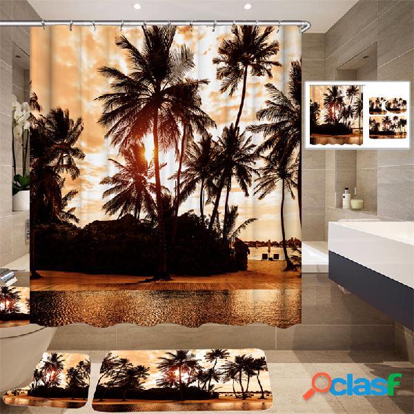 180 * 180cm conception tropicale rideau de douche / tapis 3pcs tapis de bain salle de bain ensemble chaud