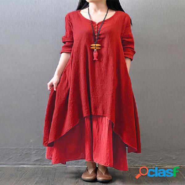 Gracila femme maxi robe irrégulier vêtement vintage à manches longues en col v