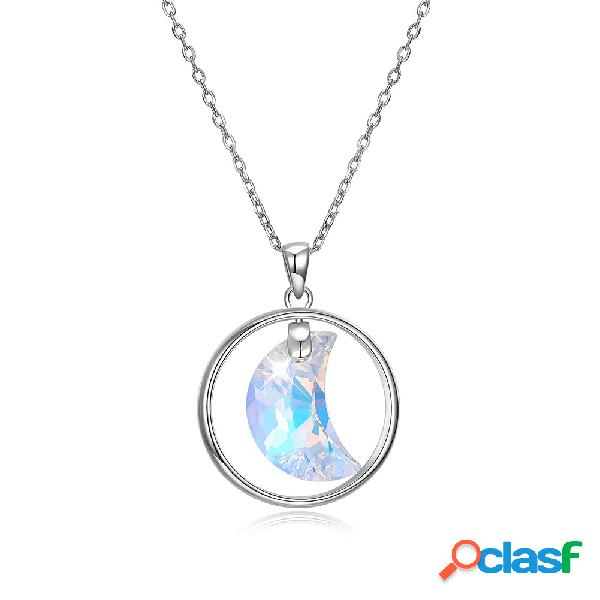 Argent 925 brillant zircone cristal collier dangle lune forme charme colliers pour les femmes