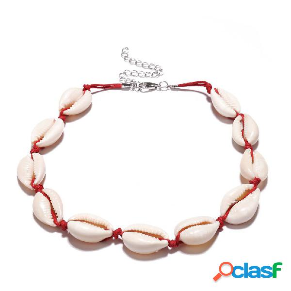 Collier de perles vintage clavicule shell cire rope collier choker bijoux accessoires pour femmes