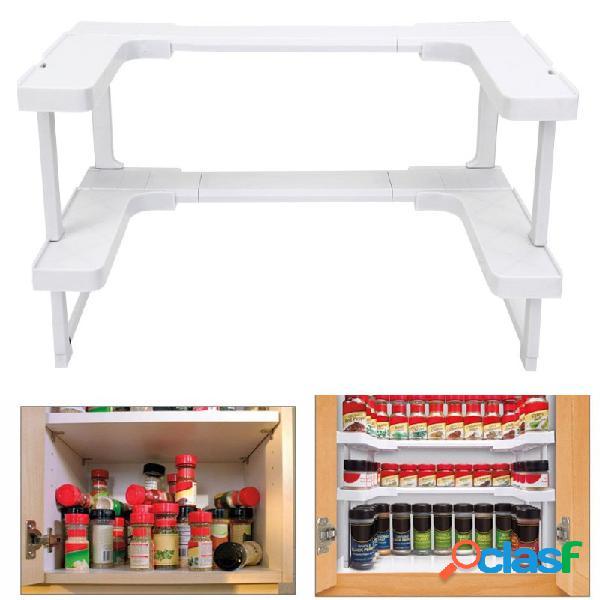 2 couches réglable étagère épicée étagère empilable étagère à épices rack de stockage titulaire de l'organisateur de stockage