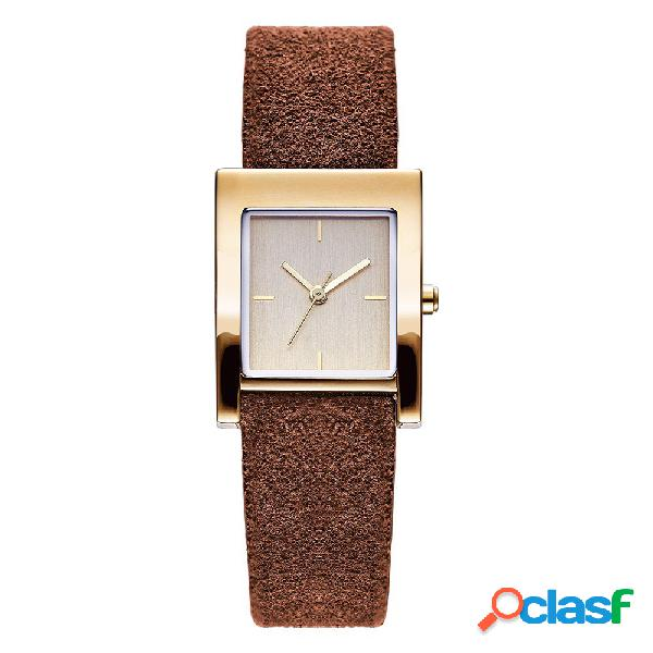 Mode quartz montre-bracelet rectangle no number dial leather strap montres casual bijoux pour les femmes