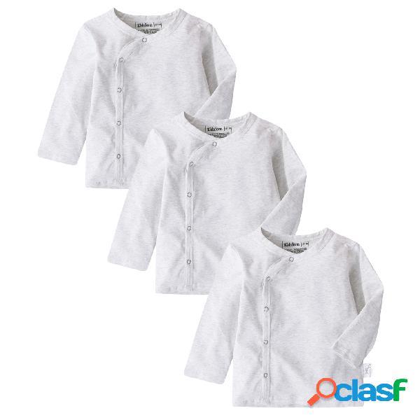 Lot de 3 chemises à manches longues en coton pour bébé nouveau-né à boutons-pression latéraux pour 3-18 mois
