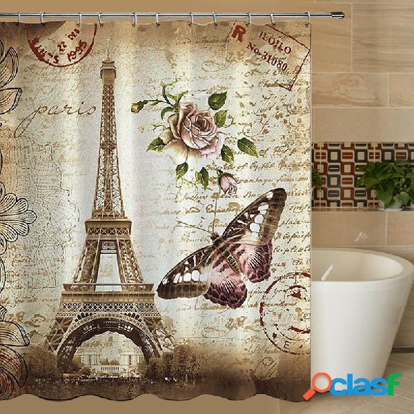 180x200cm rideau de douche salle de bain paris tour eiffel tissu et crochets