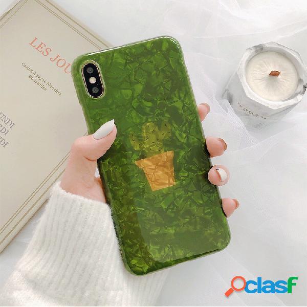 Cas de téléphone de style plante verte shell ins pour iphone8plus / 7p / 6s iphone xs max / xr