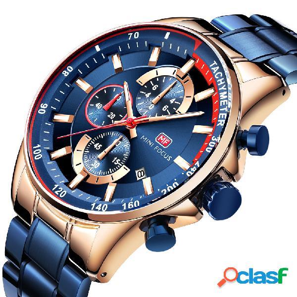 Montre-bracelet de travail d'hommes d'affichage de style d'affaires fonctionnant la petite montre de quartz en acier de cadran plein