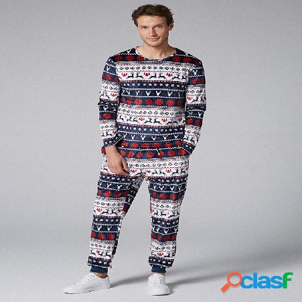 Pyjamas de noël à deux pièces pour hommes ensembles peers fairisle print holiday o neck vêtements de nuit loungewear