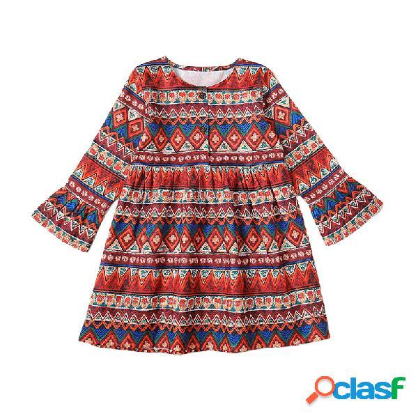 Robe vintage fille à rayures ethniques à manches longues pour 1-11y