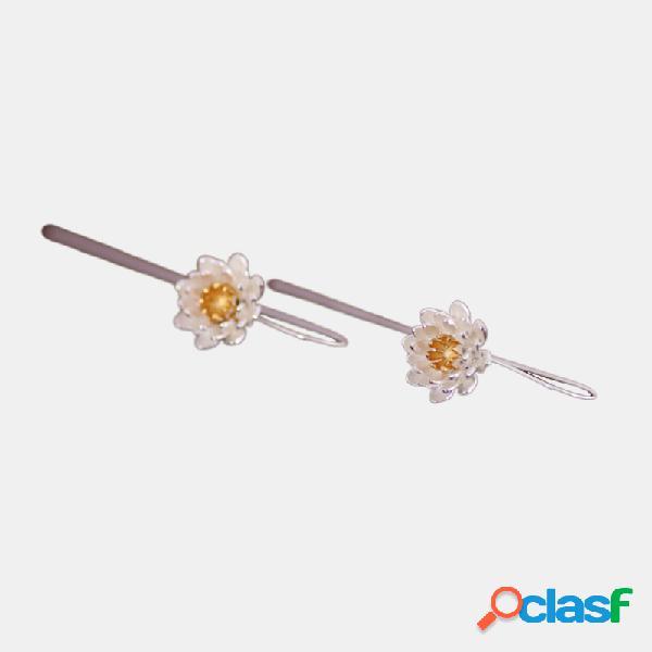 Vintage s925 boucles d'oreilles en argent sterling pendentif tempérament fleur boucles d'oreilles longues en argent sterling