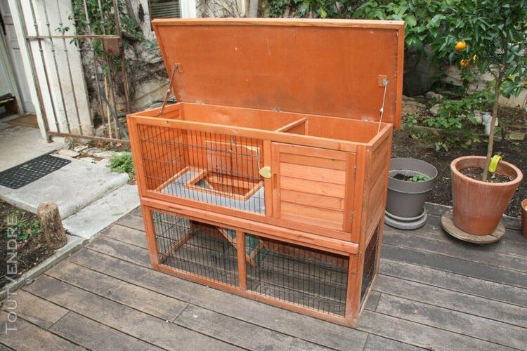 Clapier-cabane à lapin en bois 2 niveaux (marron) -