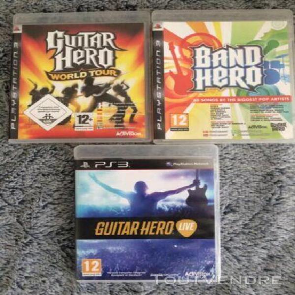 Lot 3 jeux guitar hero ps3 guitar héro playstation 3