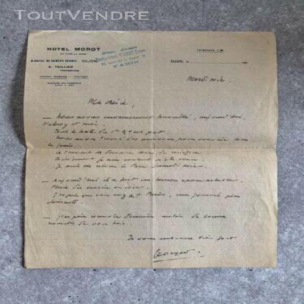Papier à en-tête ancien hôtel morot, dijon 1910/20