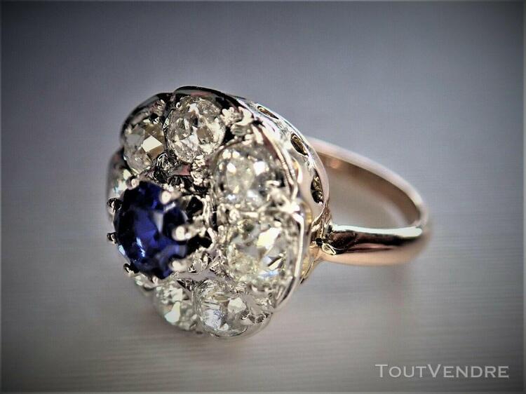 Bague pompadour or 18 carats diamants et saphir vers 1900