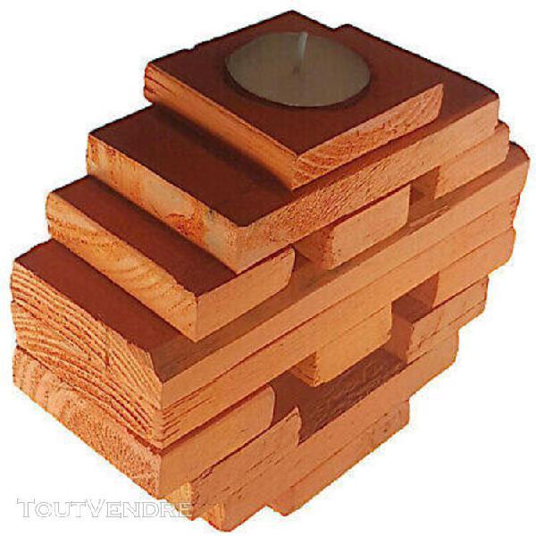 Bougeoir smiley orange en bois de palette
