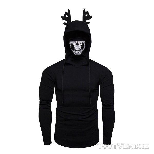 Hommes crâne elk antler masque pull à manches longues à