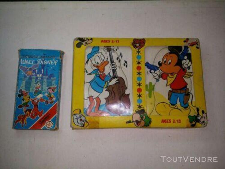 Jouet ancien jeu de cartes walt disney card puzzle mundus 19