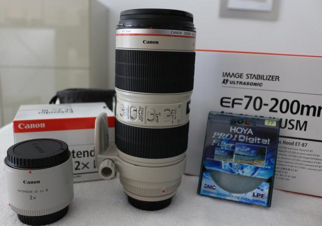 Objectif canon ef 70/200 mm f2.8 l is ii usm + ext