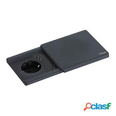Evoline square 1 prise + 1 chargeur usb - noir