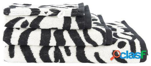 Hema serviette de bain - qualité épaisse blanc/noir (blanc/noir)