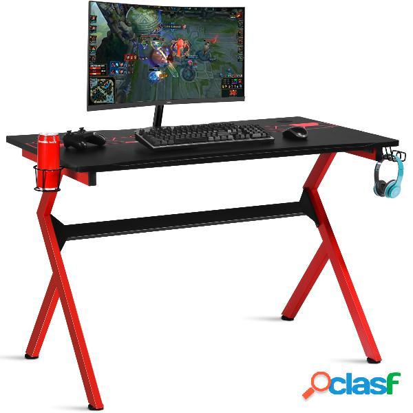 Costway bureau gaming bureau de jeu pour gamer en mdf+tubes en acier 115x66x77cm noir et rouge