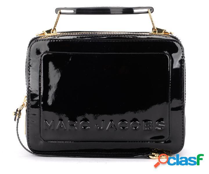 Sac à bandoulière the marc jacobs the textired mini box bag en vernis noir