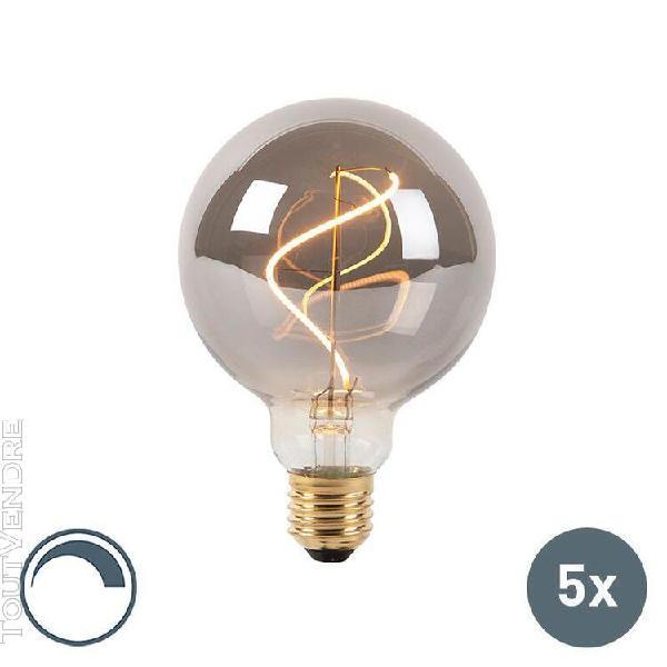 Luedd set van 5 e27 dimbare led filament lamp g95 smoke 4w 1