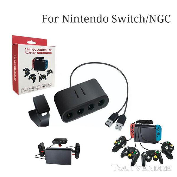 Pour nin o switch / wiiu / pc / ngc 3in1 4port usb pour game