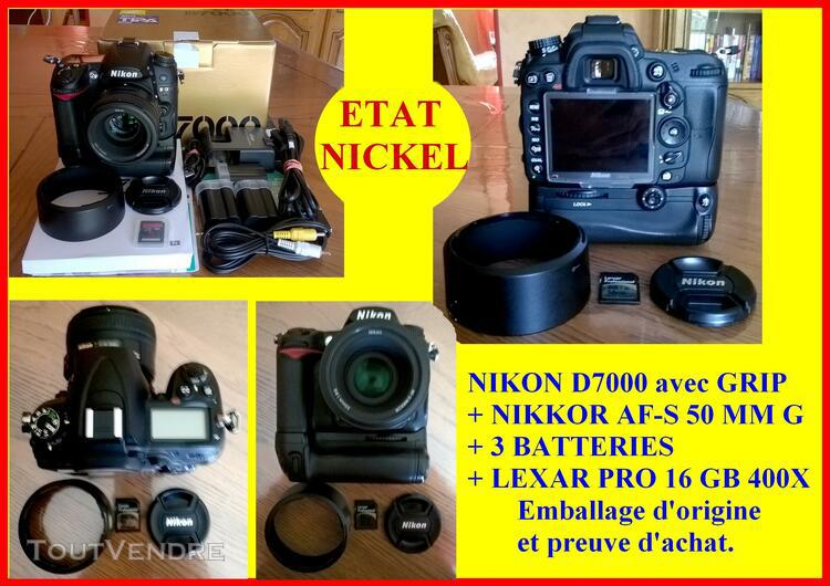 Nikon d7000 + grip + 3 batteries