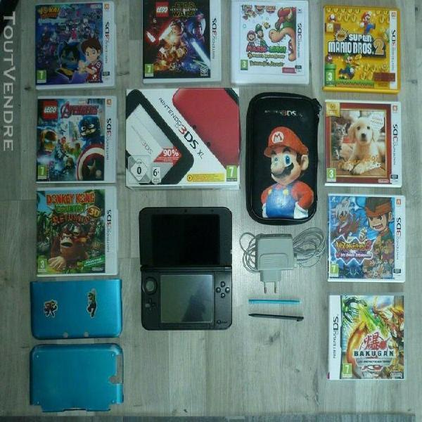 Nintendo 3ds xl avec 9 jeux,chargeur,housse,coque,3 stylets,