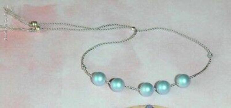 Bracelet réglable fil de nylon tressé gris perles nacrées