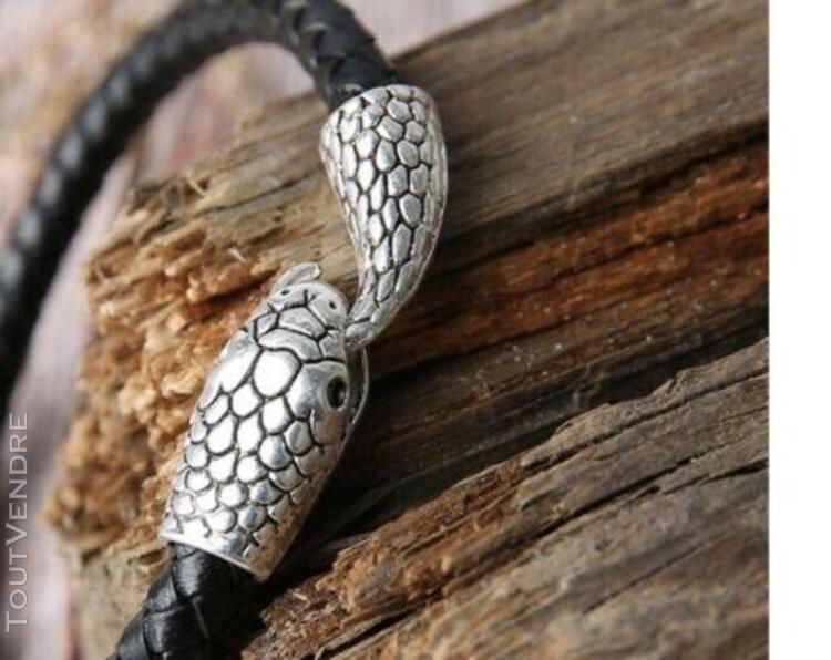 Bracelet serpent crochet acier inoxydables et cuir tressé
