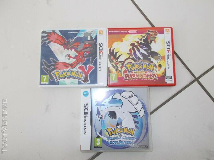 Lot de 3 jeu nintendo ds / 3ds / 2ds pokemon + soulsilver +