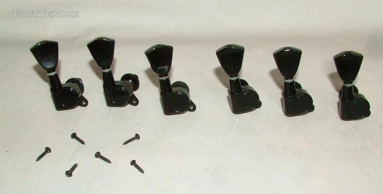 Lot de 6 tuners noirs guitare type stratocaster ou telecaste