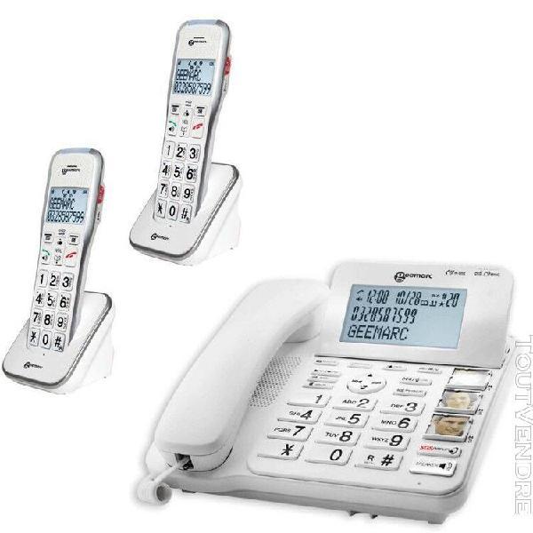 Téléphone fixe senior 595 trio classic, geemarc