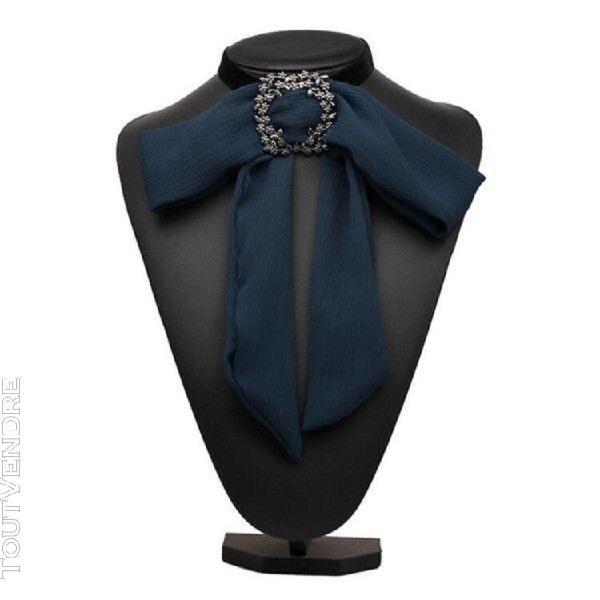 Accessoire de col chemise en mousseline de soie satin pour f