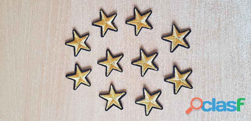 Ecusson 10 étoiles brodé or et noir 3,5x3,5 thermocollant